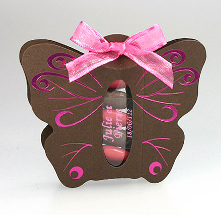 Papillon Arabesques Tube Translucide Dragées Chocolat