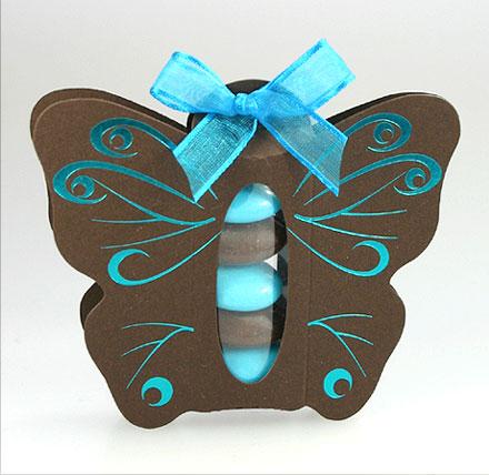 Papillon Arabesques Tube Translucide Dragées Turquoise