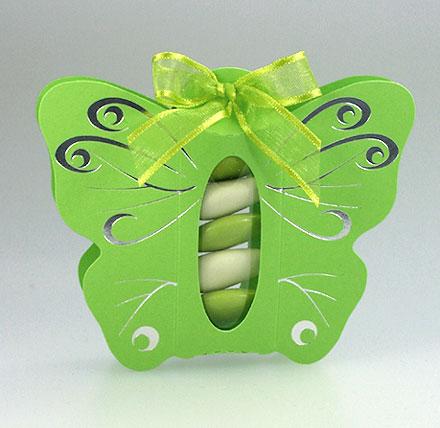 Papillon Arabesques Tube Translucide Dragées Vert Anis