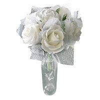 Le Bouquet 6 Roses Blanches Tulle Petits Pois