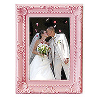Grand Cadre Photo Baroque Moulures Rose