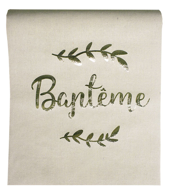 D coration de table bapteme dragees bapteme - Chemin de table dore ...