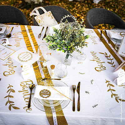 Décoration de table baptême Blanc Doré Pur
